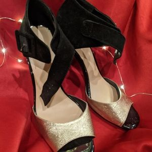 BCBG suede heels with gold detail